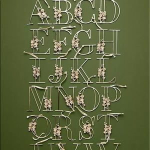 Anthropologie Monogram Floral Initial Ornament